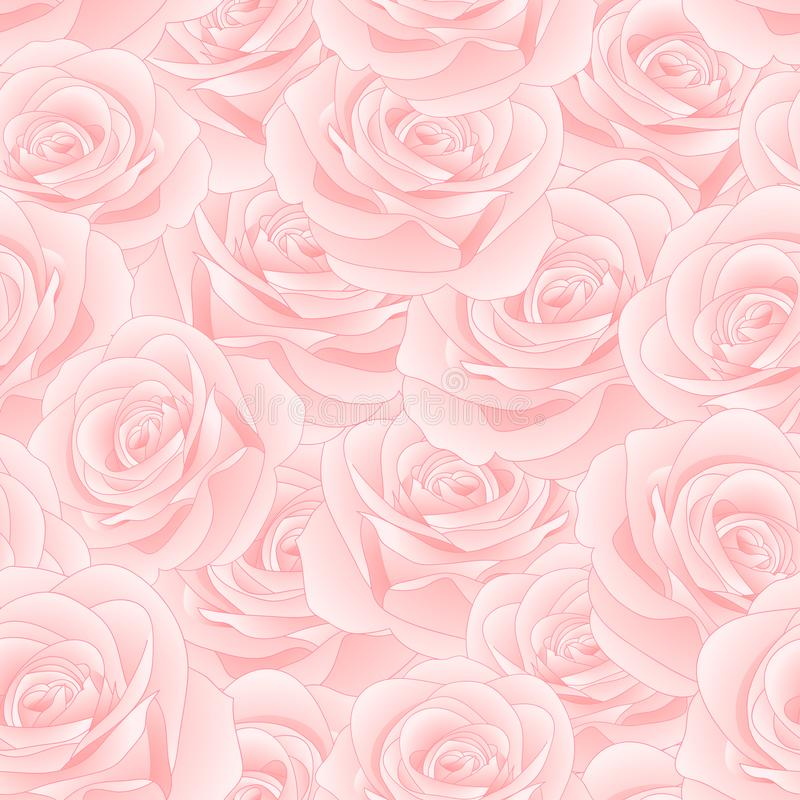 Beautiful Pink Rose - Rosa Seamless Background. Valentine Day. Vector Illustration. stock illustration