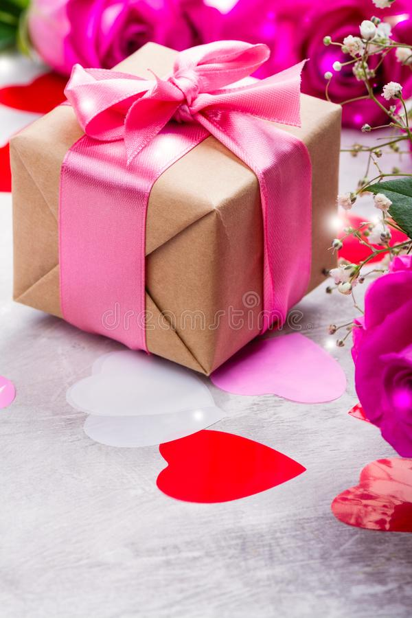 Beautiful roses on wooden background. Valentines day or mothers day greeting card royalty free stock photography