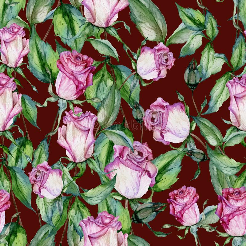 Beautiful pink roses and green leaves on maroon background. Seamless floral pattern. Watercolor painting. Beautiful pink roses on stems with green leaves on vector illustration