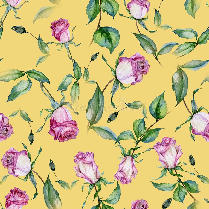 Beautiful pink roses and green leaves on yellow background. Seamless floral pattern. Watercolor painting. Beautiful pink roses on stems with green leaves on vector illustration