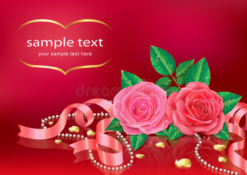 Beautiful Pink Roses With Ribbon. Stock Vector