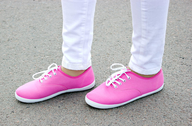 Download Beautiful Pink Shoes On The Street Stock Image - Image: 26675861
