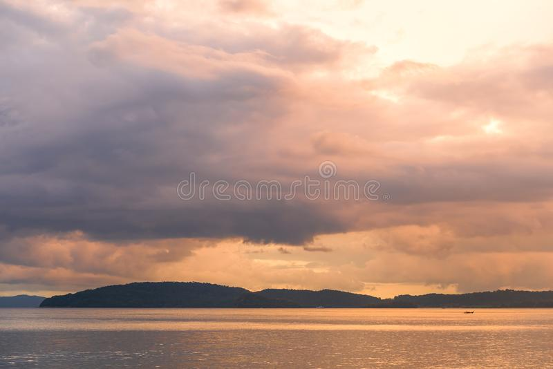 beautiful pink sky over the sea at sunset time royalty free stock image
