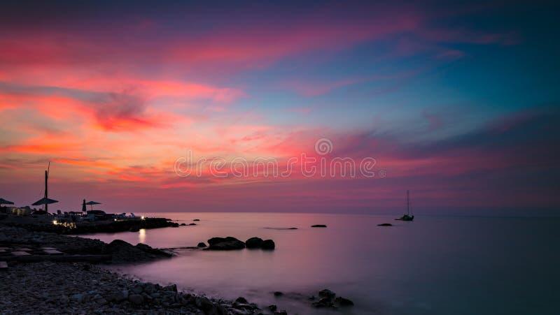 Beautiful pink sunset landscape stock image
