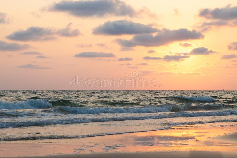 Beautiful pink sunset over sea, background royalty free stock photo