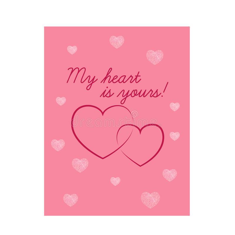 Beautiful pink Valentine s Day card with hearts stock illustration