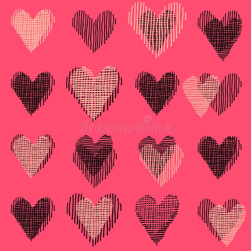 Beautiful pink vector seamless pattern, repeating design with hand drawn hearts vector illustration