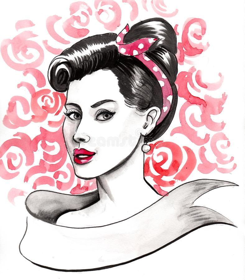 Pinup beauty royalty free illustration