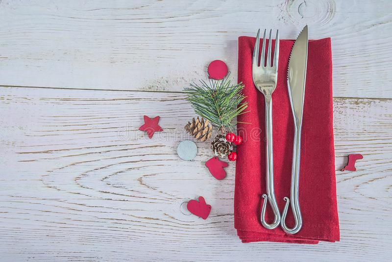 Beautiful place setting for Christmas or New year dinner royalty free stock photo