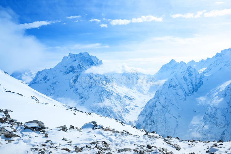 Beautiful place for winter sports of Dombaj mountain stock photos