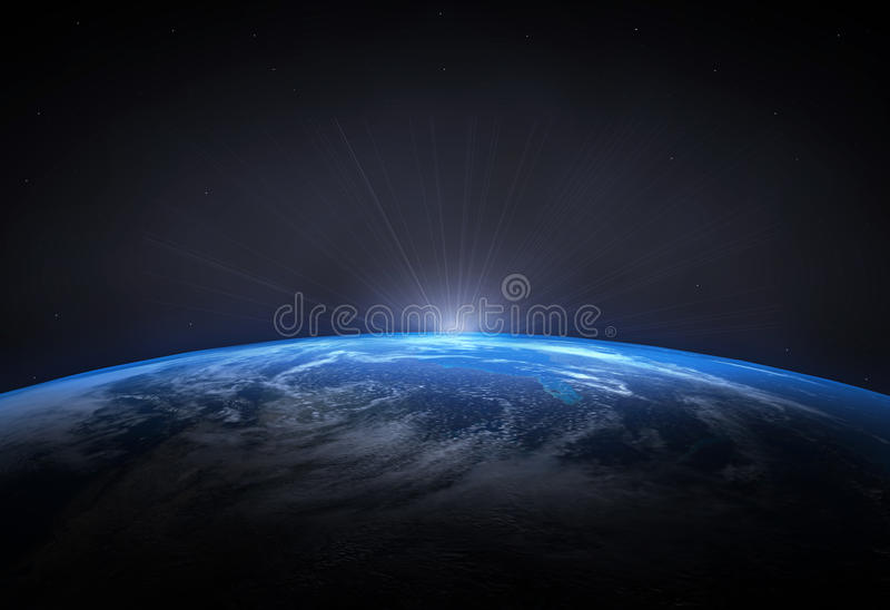 Beautiful planet Earth and the rising Sun. High quality render of the beautiful planet Earth and the rising Sun with stars in the background royalty free illustration
