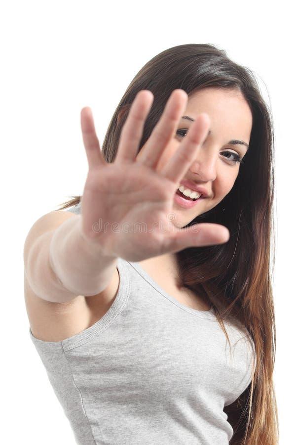Beautiful playful teenager saying no photos stock photography