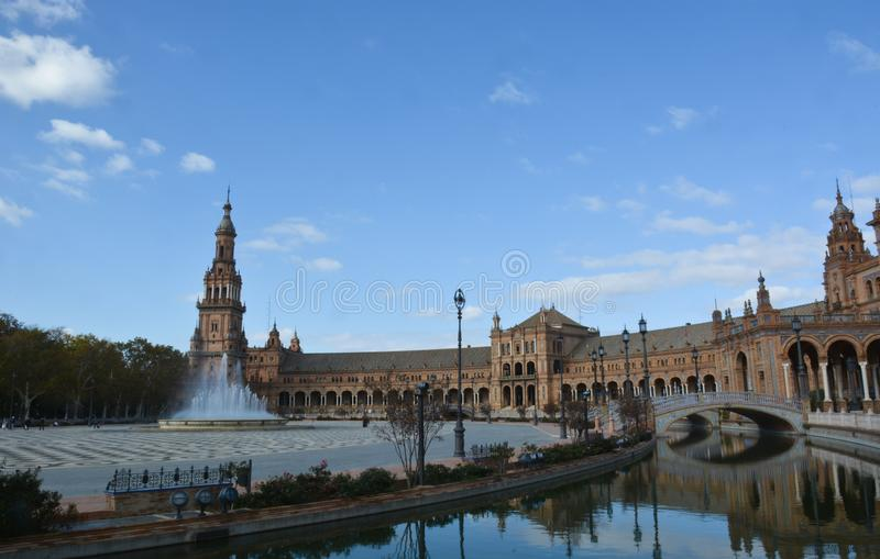 The beautiful Plaza de Espana in Seville. Discovering the beautiful Andalusia in southern Spain stock image
