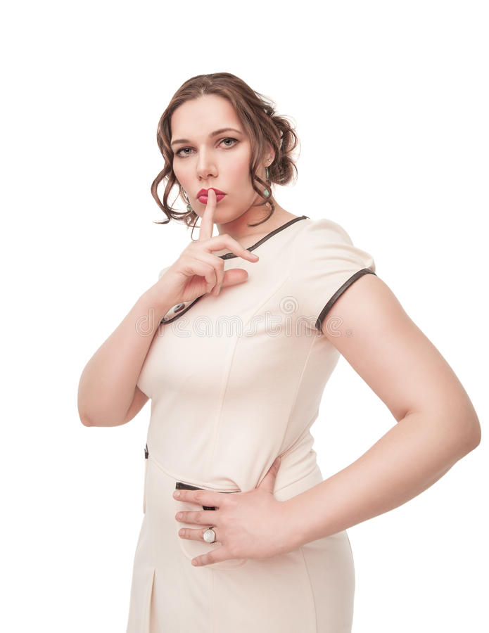 Download Beautiful Plus Size Woman Showing Quiet Sign Stock Image - Image of isolated, lady: 39501689