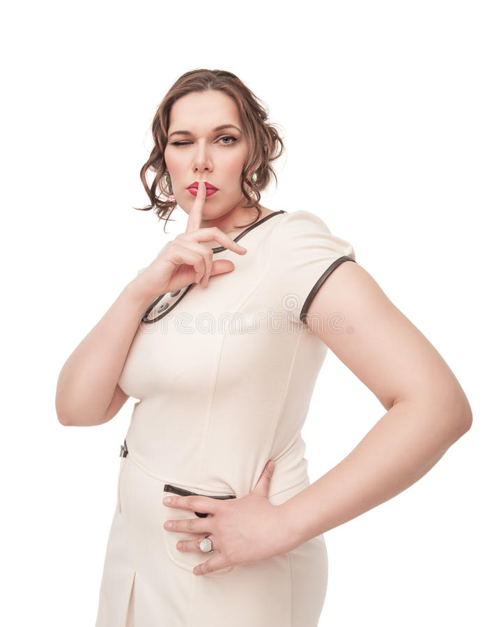 Download Beautiful Plus Size Woman Showing Quiet Sign And Winking Stock Photo - Image of body, dress: 39501704