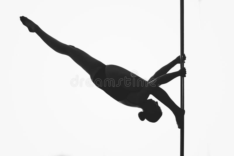 Beautiful pole dancer girl silhouette royalty free stock photo
