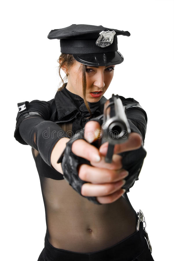 Download Beautiful Policewoman Aiming A Gun Stock Image - Image: 13506729