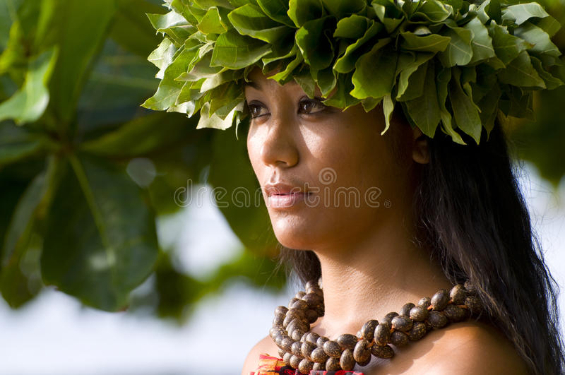 Beautiful Polynesian woman stock photo