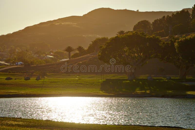 Beautiful pond in Malibu at sunset royalty free stock photos