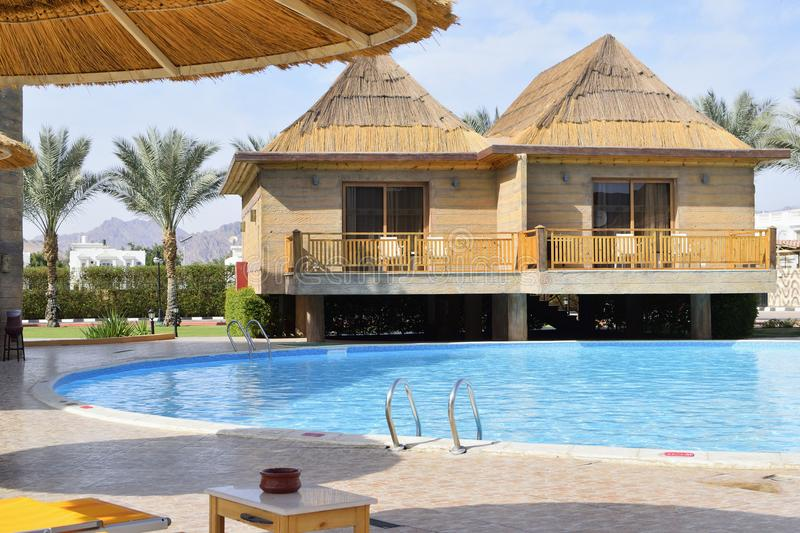 The beautiful pool in hotel of Egypt stock photography