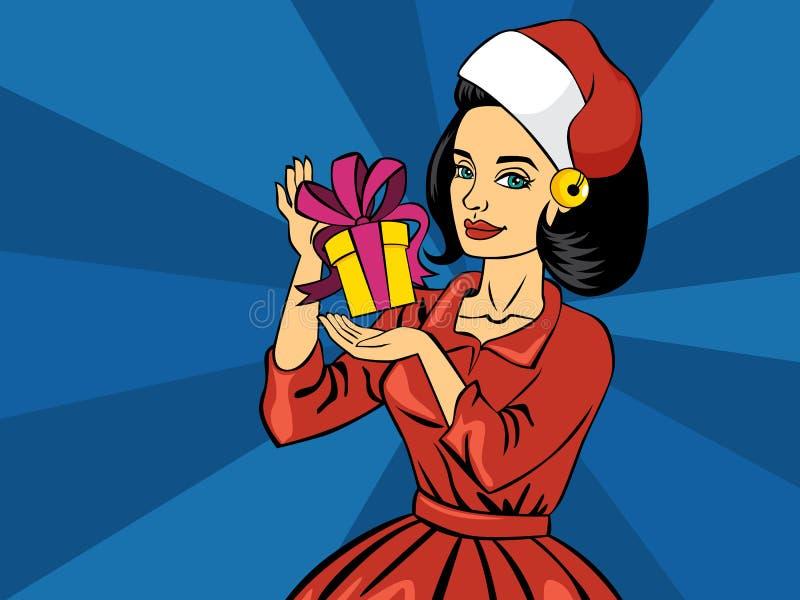 Beautiful pop art comic girl holding christmas gift box vector illustration