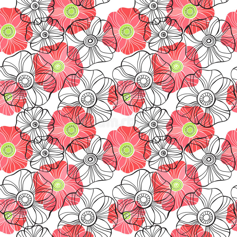 Beautiful Poppy Flowers set, Colorful Vector seamless pattern. Poppy Flowers set, Colorful Vector seamless pattern royalty free illustration
