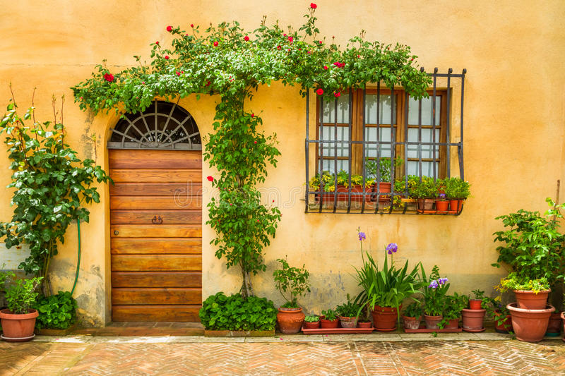 Beautiful porch decorated with flowers royalty free stock photography