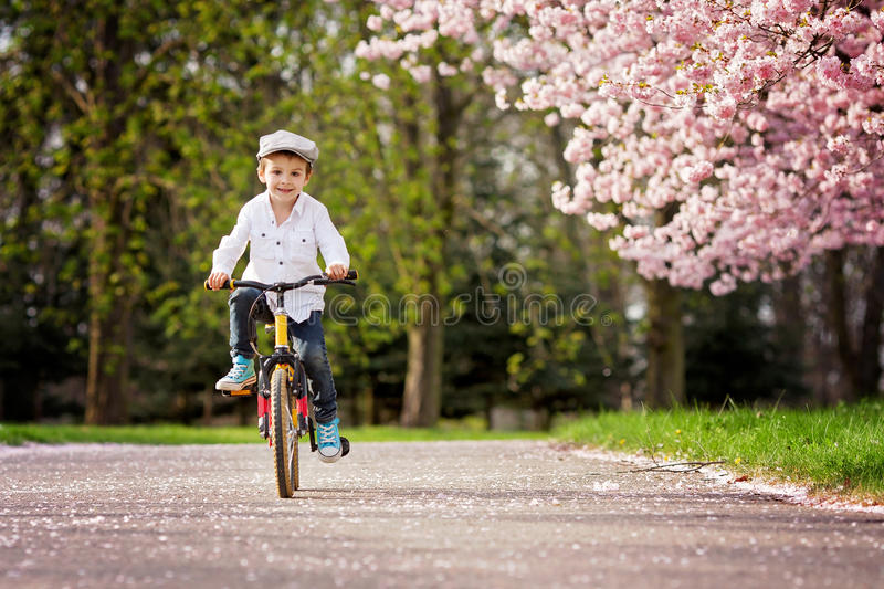 Beautiful portrait of adorable little caucasian boy, riding a bi royalty free stock image