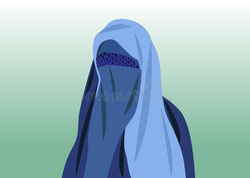 Beautiful portrait of arabic muslim woman closed face veil, blue Burka illustration isolated or green background.  royalty free illustration