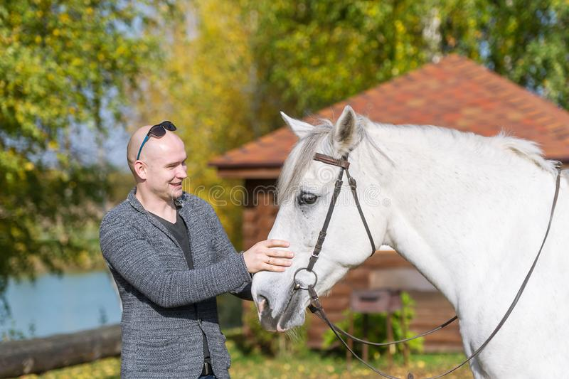 A beautiful portrait of a happy laughing bald man bonding with his white horse royalty free stock photo
