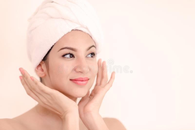 Beautiful portrait spa woman royalty free stock photography