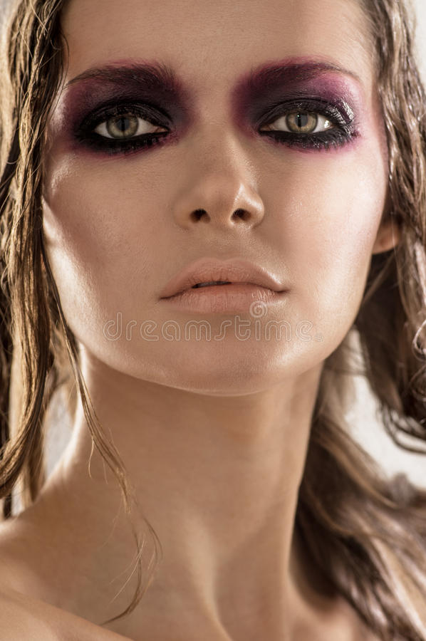 Beautiful portrait of a woman with fashion makeup stock photos