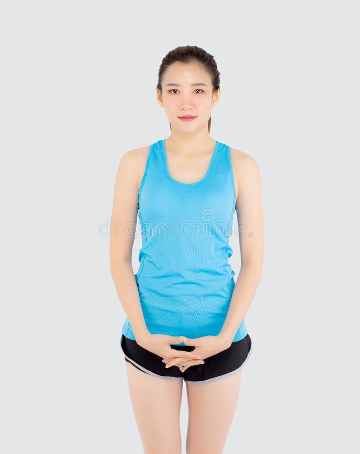 Beautiful portrait young asian woman in sport clothes with satisfied and confident isolated on white background. Asia girl cheerful have shape and wellness stock photos