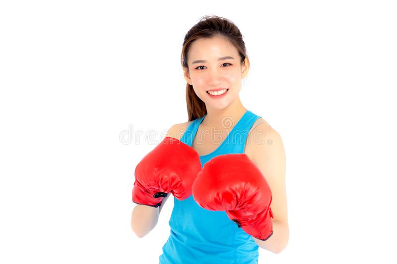 Beautiful portrait young asian woman wearing red boxing gloves w royalty free stock photos