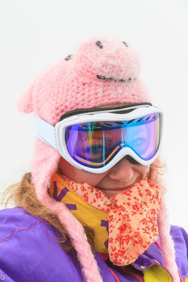 Cold winter woman portrait stock photos