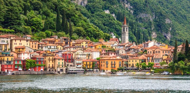 Beautiful Postcard Panorama view of beautiful Varenna Town, Lake Como, Lombardy, Italy, Europe royalty free stock photography