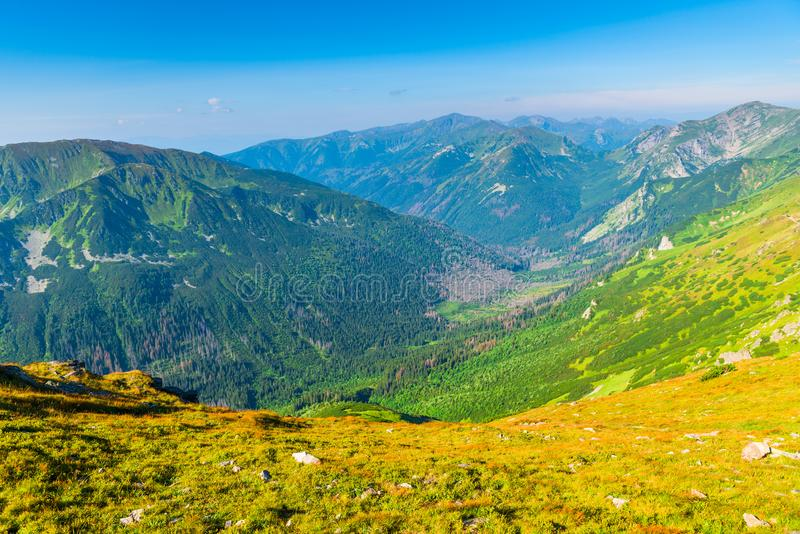 Beautiful postcard views of the Tatra Mountains from Kasprowy Wi. Erch Poland stock images
