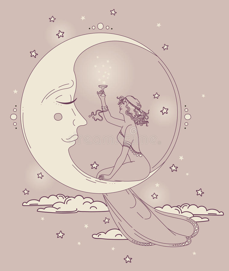 Beautiful poster in art nouveau style with party woman and moon in starry sky. Can be used for party invitations, vector illustration stock illustration