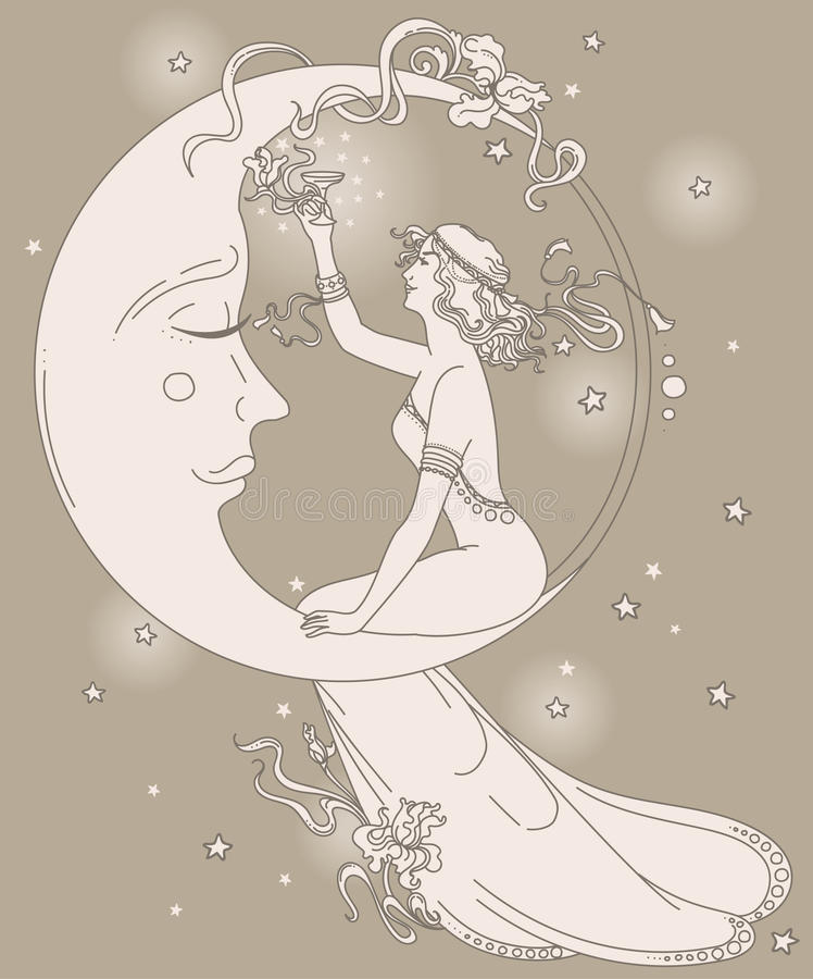 Beautiful poster in art nouveau style with party woman and moon in starry sky. Can be used for party invitations, vector illustration vector illustration