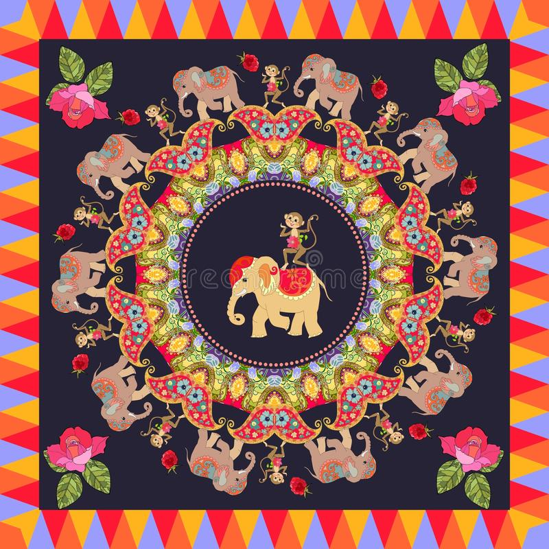 Beautiful poster with cute elephants, cheerful dancing monkeys, round ornament with paisley, roses and multicolor frame royalty free illustration