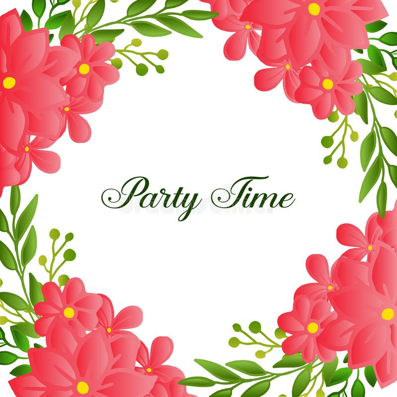 Beautiful poster invitation for party time, with texture of wreath frame blooms. Vector. Illustration stock illustration