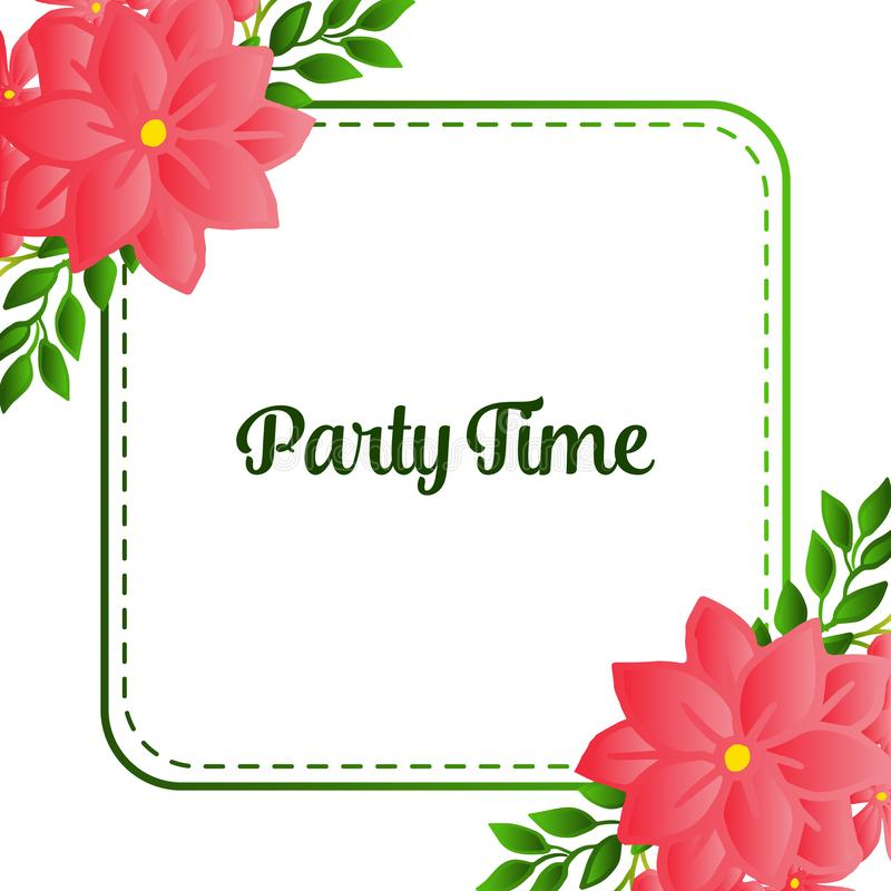 Beautiful poster invitation for party time, with texture of wreath frame blooms. Vector. Illustration royalty free illustration