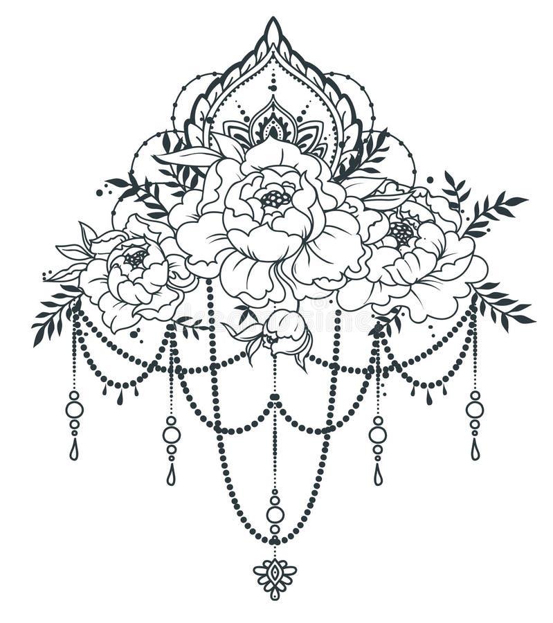 Beautiful poster with peonies an mehndi style decoration stock download beautiful poster with peonies an mehndi style decoration stock vector illustration of feminism stopboris Images