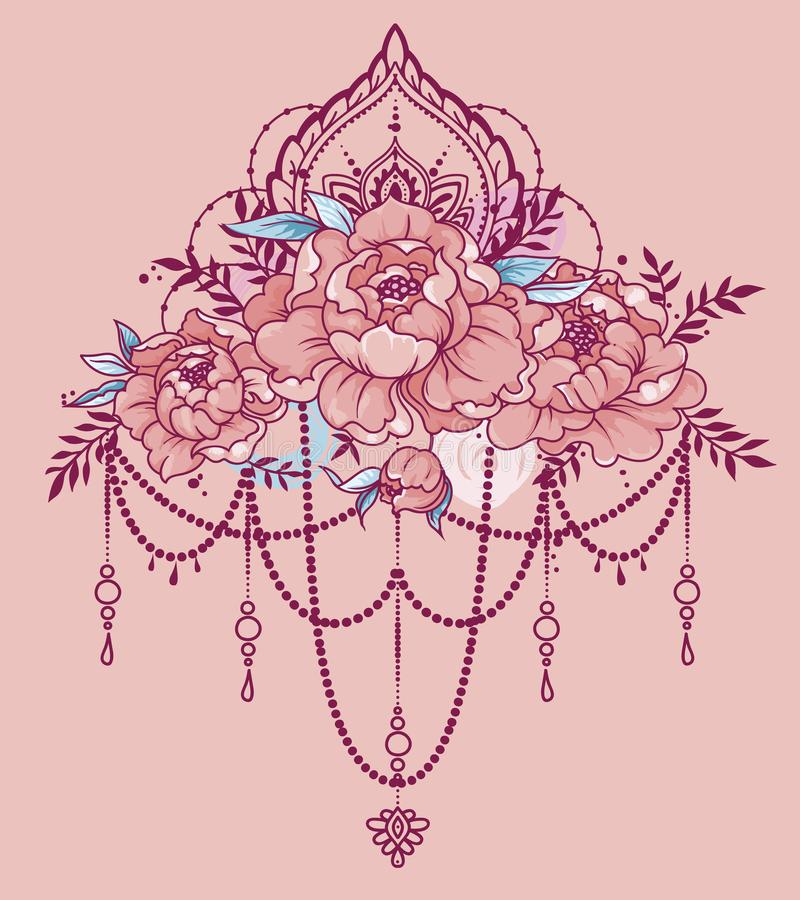 Beautiful poster with peonies an mehndi style decoration stock download beautiful poster with peonies an mehndi style decoration stock vector illustration of flower stopboris Images
