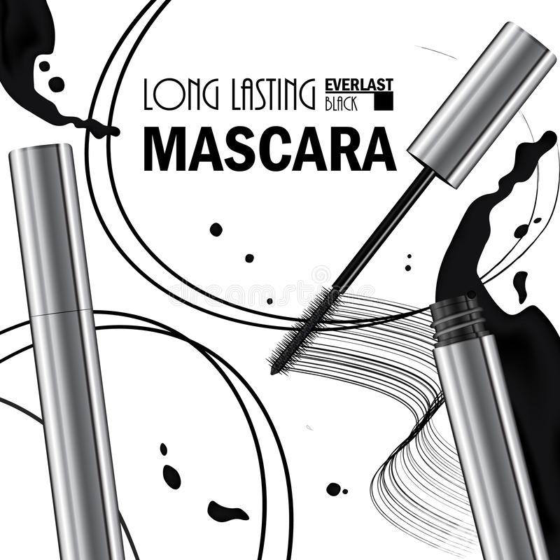 Beautiful Poster for the promotion of cosmetic premium mascara product. Cosmetic ads for packaging  with liquid smear ink elements royalty free illustration