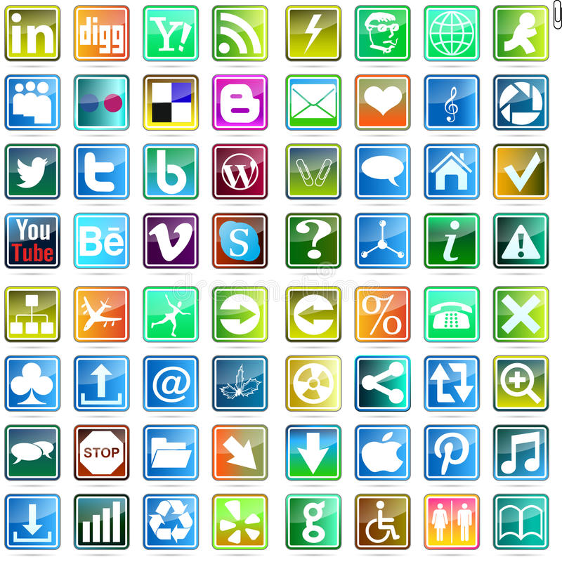 Beautiful and practical web icon. Badge Button Facebook Plus Wordpress Digg Blogger Rss Social Behance Yahoo royalty free illustration