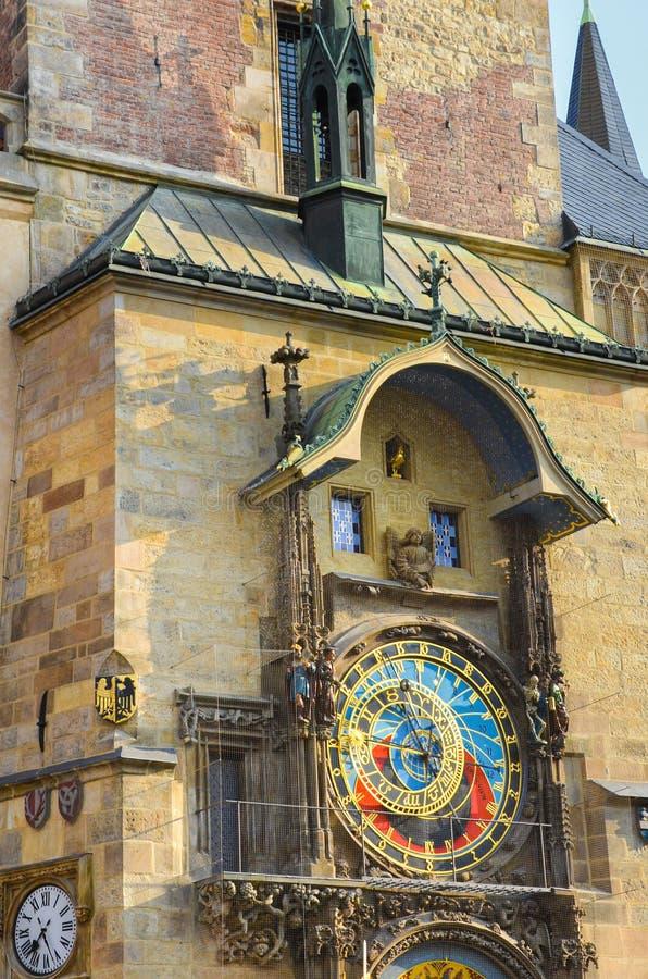 Beautiful Prague astronomical clock, Orloj, on the Old Town Square in Prague, Bohemia, Czech Republic. Famous tourist place. Golden hour light. Praga, Czechia royalty free stock photo