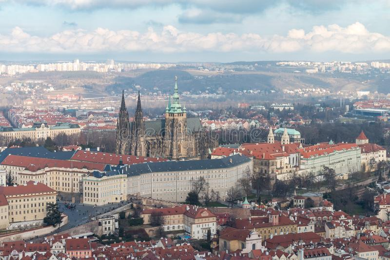 View of Prague Castle and St. Vitus Cathedral stock images