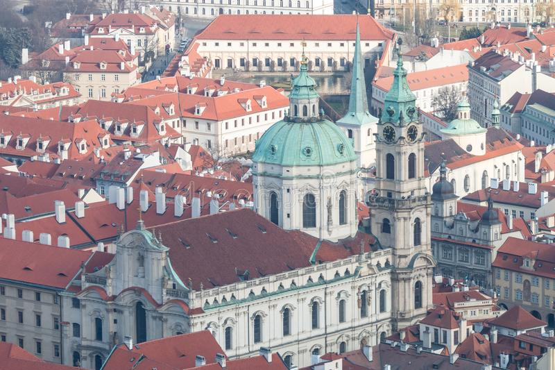 View of winter Prague with classic red roofs stock photos