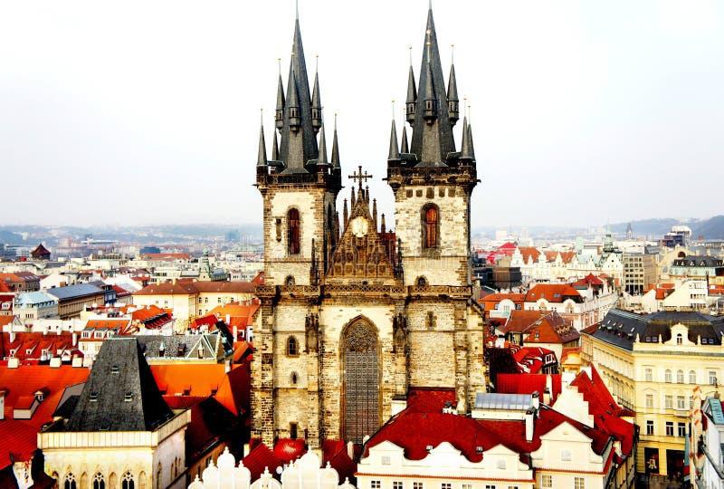 Beautiful Prague view and Tyn church. Beautiful bird eye Prague view and Tyn church stock image